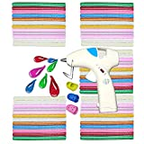 NEX&CO Cordless Hot Glue Gun with 60 Colored Glue Sticks Kit for DIY Small Crafts Projects Sealing, Safety Battery Operated Low-Temp On Off Switch Melting Adhesive with Holder and Finger Protectors