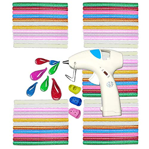 NEX&CO Cordless Hot Glue Gun with 60 Colored Glue Sticks Kit for DIY Small Crafts Projects Sealing, Safety Battery Operated Low-Temp On Off Switch Melting Adhesive with Holder and Finger Protectors by nex&co (Image #6)