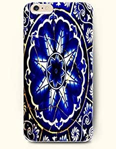 SevenArc Apple iPhone 6 Plus 5.5' 5.5 Inches Case Moroccan Pattern ( Dark Blue Floral Pattern )