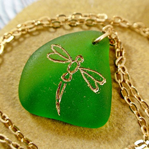 Handmade Dragonfly Sea Glass Necklace for Women Seaglass Jewelry Beach Wedding Gift (Bohemian Glass Necklace)