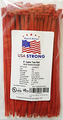 Cable Ties. Standard Duty 7.6 Inch Premium Nylon Wire Management Zip-Ties. 50 LB Tensile Strength USA Strong Cable Ties (100 Pack, Red)