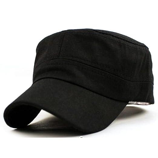Unisex Adjustable Plain Cap Vintage Army Military Cadet Style Cotton Hat  (Black 96a80c036134