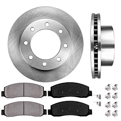[ 4WD Models ] FRONT 346.96 mm Premium OE 8 Lug [2] Brake Disc Rotors + [4] Ceramic Brake Pads + Clips