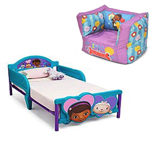 Disney Bundle of 2: Doc Mcstuffins Square Bean Bag Chair and Delta Children Doc Mcstuffins 3d Toddler Bed.