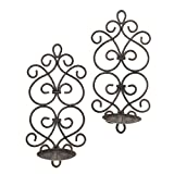 F.A. Decors Tuscan Mediterranean Scroll Work Metal Candle Wall Sconces