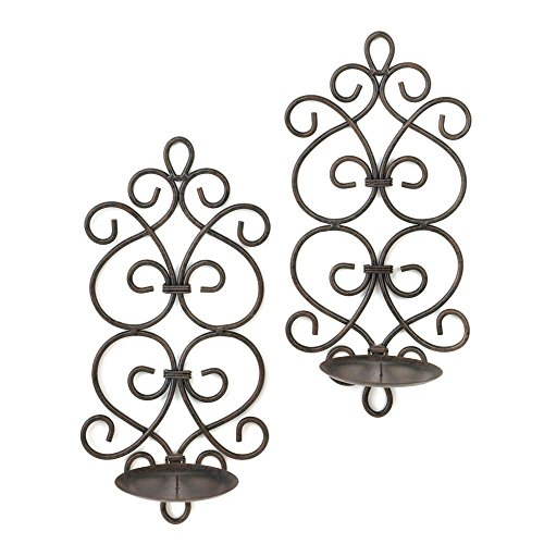 F.A. Decors Tuscan Mediterranean Scroll Work Metal Candle Wall Sconces Black Wrought Iron Sconce