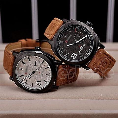 Fashion Men Military Leather Strap Wrist Quartz Watch Men's Watches Sport New(Color Black) (Fossil Limited Edition)