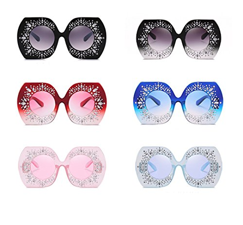 Gafas multidifero F de Señora RFVBNM de de Carácter Sol Irregular de B de Retro Marco Diamante Gran Gafas sol FqdOw10q