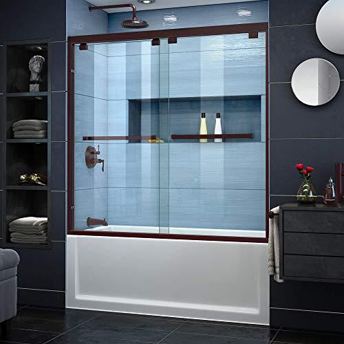 DreamLine Encore 56-60 in. W x 58 in. H Frameless Semi-Frameless Bypass Tub Door in Oil Rubbed Bronze, SHDR-1660580-06 ()
