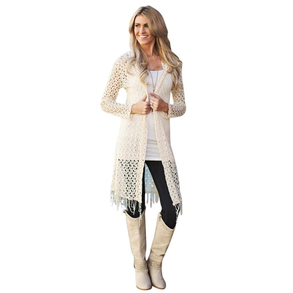 Realdo Womens Cardigan Clearance Sale, 2Pcs Solid Open Front Long Cover up Blouse Cardigan+Vest Family Clothes Set(XX-Large,White)