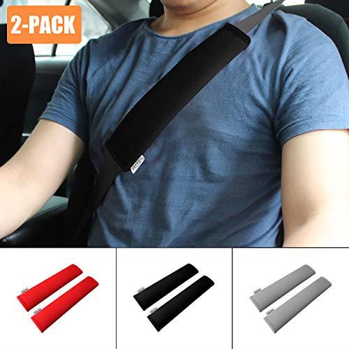 GAMPRO Car Seat Belt Pad Cover, 2-Pack Soft Car Safety Seat Belt Strap Shoulder Pad Adults Children, Suitable Car Seat Belt, Backpack, Shoulder Bag(BLACK)