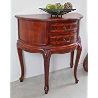 Hand Carved Wood Half-Moon 2-Drawer Console Table