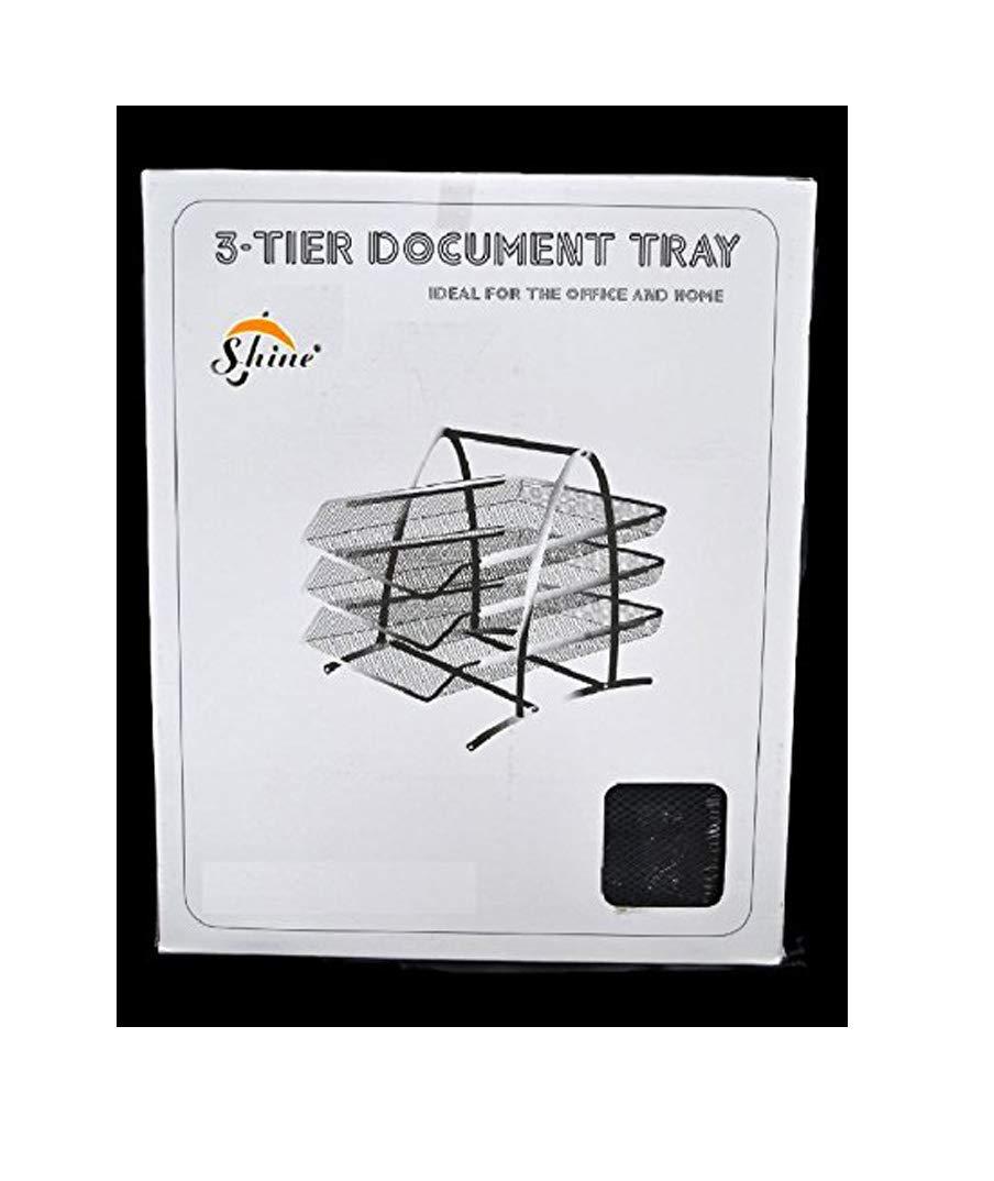 Black Shine Office Filing Trays Holder A4 Document Letter Paper Wire Mesh Storage Organiser