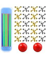 Neo LOONS 2 Sets Jacks Game Toys Kits with Pick Up Sticks, Include 20 Pcs Metal Jacks with 2 Pcs Red Rubber Balls & 90 Pcs Pick Up Sticks, Classic Game of Jacks for Kids Adults