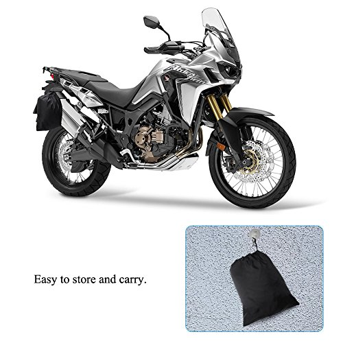 Motorcycle Cover Universal Fit Oxford Fabric Waterproof Breathable Rain Sun UV Dust Outdoor All Weather Protection with Lock Hole (Fits Motorbike up to 96'', Black) by LEDKINGDOMUS (Image #7)