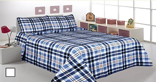 3 Pcs Printed Bedspread/ Coverlet Sets/ Quilt Sets, Full/ Queen Size,striped blue Navy Blue Color Over Size