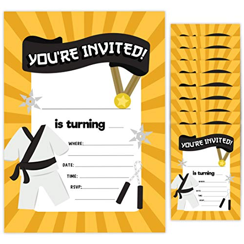 Karate Style 1 Happy Birthday Invitations Invite Cards (10 Count) With Envelopes Boys Girls Kids Party (10ct) (The Best Karate Style)