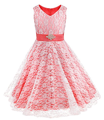 Big Kids Watermelon Apparel - iEFiEL Kids Big Girls V-Neck Lace Flower Dress Graduation Pageant Ball Gown Watermelon Red 16