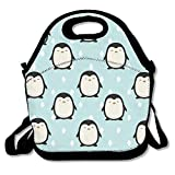 Fashion Designer Lunch Box Outdoor Travel Picnic Lunch Box Bag Messenger Lunch Bag Happy Penguin Adjustable Body Strap Bag