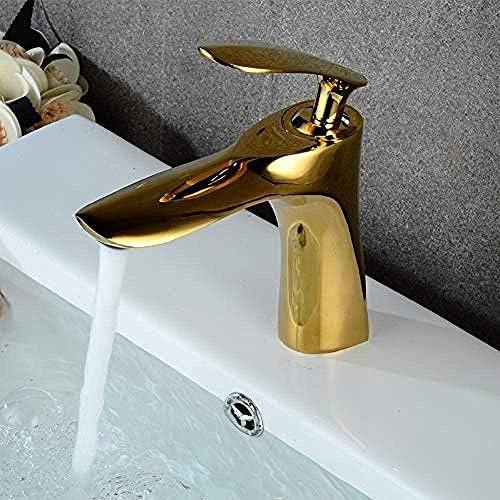 S-TING 蛇口 タップゴールド流域の蛇口のファッション浴室の蛇口蛇口の真鍮の洗面台の蛇口シングルハンドル単穴の浴室のエレガントクレーン 水栓金具 立体水栓 万能水栓