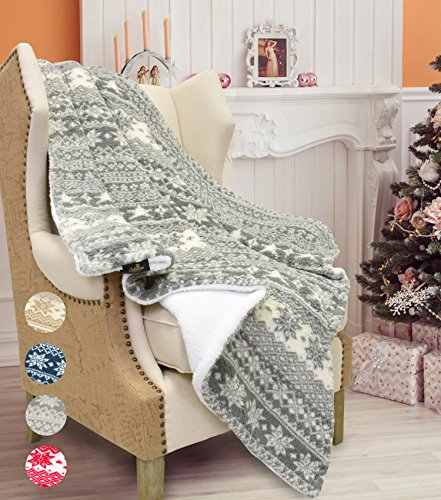 Sherpa Throw Blanket,Super Soft Warm Fuzzy Comfy Lambswool Snowflake Blankets Reversible Plush Fleece Christmas Theme Throws 50