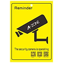 A-ZONE CCTV Security Camera Warning Stickers 2PCS Video Surveillance Decals for Indoor Outdoor Use Long Lasting Weatherproof Warning Alert 24 Hour Surveillance Decal 9.88x6.73