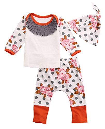 Newborn Baby Kids Girls Flower Print Polka Dots Tops+Pant+Hat Outfits 3pcs (0-3 Months, White)