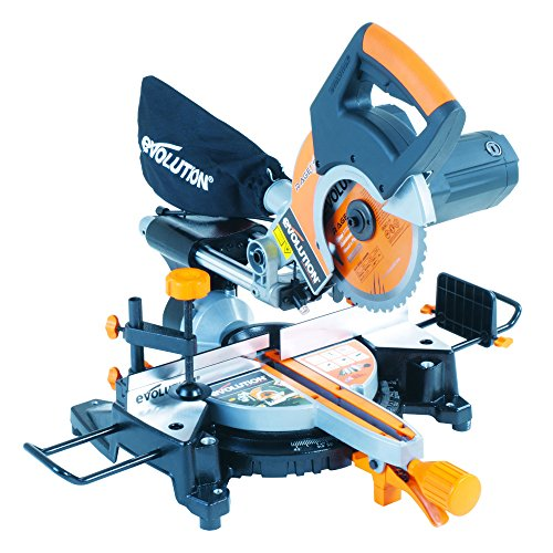 Evolution RAGE3-S+ Multi-Purpose Sliding Mitre Saw with Accessory Pack, 210...