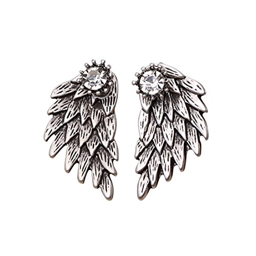 Cute Gothic Angel Wing Stud Earrings Ear Jacket for Women Unique Fashion MengPa Jewelry (Antique Silver) -