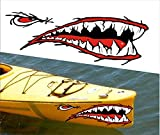 Mean Straight Front Shark Teet Mouth Decal Stickers Kayak Canoe Jet Ski...