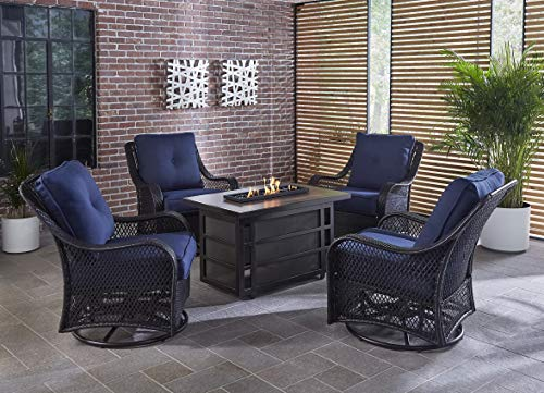 Hanover Orleans 5-Piece Steel Outdoor Patio Fire Pit Set 4 Swivel Gliders, Navy Blue Cushions and Rectangular Porcelain Tile Fire Pit, ORL5PCSW4RECFP-NVY (Porcelain Fire Pit)