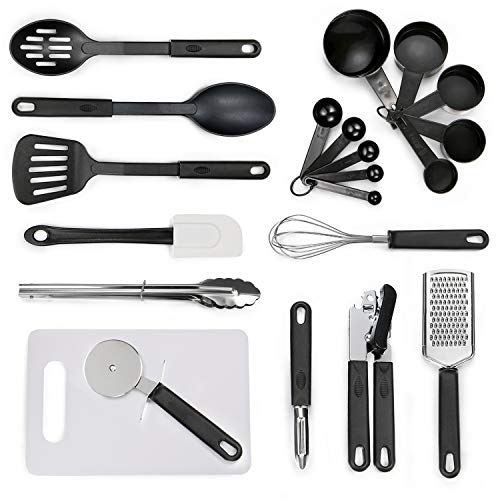 Kitchen Utensil Set - 21 Cooking Utensils - Nonstick Nylon and Stainless Steel Spatula Set with Cutting Board - Kitchen Gadgets Cookware Set - Best Kitchen Tools for Gift by Yehua