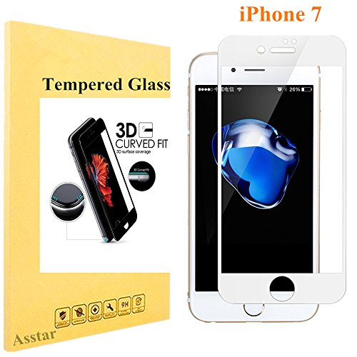 Price comparison product image iPhone 7 Screen Protector,  Tempered Glass Asstar 3D [Full Coverage] 2.5D Round Edge Edge to Edge 9H Hardness Ultra Clear Anti-Fingerprint HD Screen Protector for Apple iPhone 7 (White)