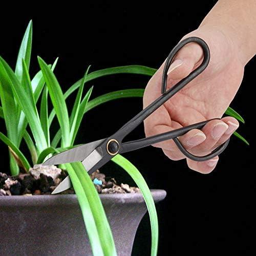 Hakeeta 205mm Ciseaux Bonsaï Acier Inoxydable, Élagage Ciseaux à Long Manche, pour Cisailles Bourgeon Feuilles, Jardin Outils Trimmer Cisailles de Jardin Ciseaux à Branches Bonsai Outils Kit.