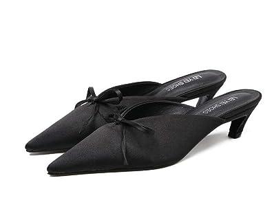 Sabots & Mules à Talons Bas pour Femme Casual Printemps Automne Noir Gris Abricot Taille 35-39 (Couleur : Gris, Taille : 38)