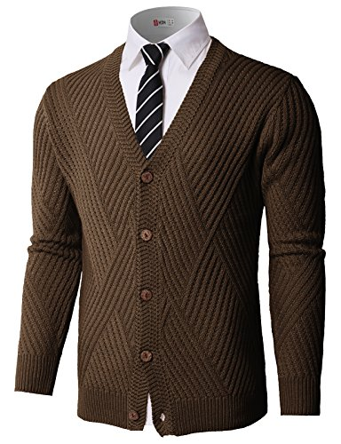 H2H Men¡¯s Relax Fit V-Neck Cardigan Cashmere Wool Blend Button Down with Pockets Brown US XL/Asia XL (KMOCAL0176)
