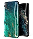 GVIEWIN Marble iPhone Xs Case/iPhone X Case, Ultra Slim Thin Glossy Soft TPU Rubber Gel Phone Case Cover Compatible iPhone X/iPhone Xs 2018, 5.8'(Green/Gold)