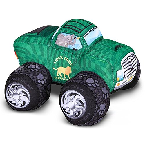 ArtCreativity Plush Monster Truck Safari Design, 8 Big Stuffed Monster Truck | Cool Animal-Themed Design | Soft and Cuddly Toys for Little Boys, Girls, Baby, Toddlers | Great Gift Idea