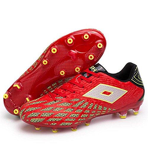 Mr. LQ - Zapatillas de combate de fútbol para adultos y zapatos de entrenamiento Red