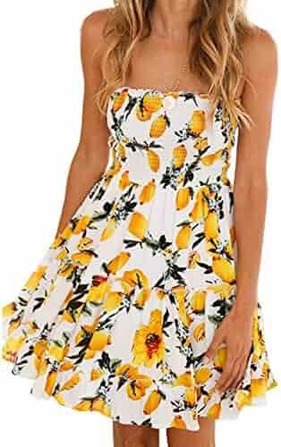 2bbd4ccf0d5e9 Murimia Womens Summer Strapless Off Shoulder Floral Print Beach Mini Dress