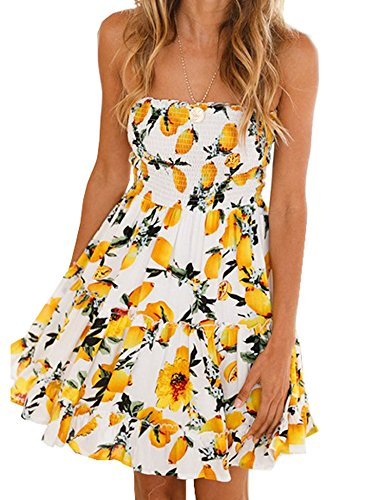 Murimia Womens Summer Strapless Off Shoulder Floral Print Beach Mini Dress Yellow White ()