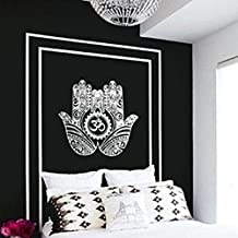 "Shukqueen Tapestry, Black White Buddha Hands Wall Hanging Tapestry Dorm Decor (59""H x 59""W, Hands-2)"
