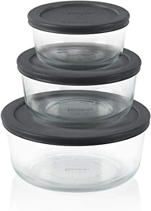 Pyrex Simply Store 6 Piece Round Set (1 x 2 Cup, 1 x 4 Cup, 1 x 7 Cup Round with Grey BPA Free Plastic Lids)