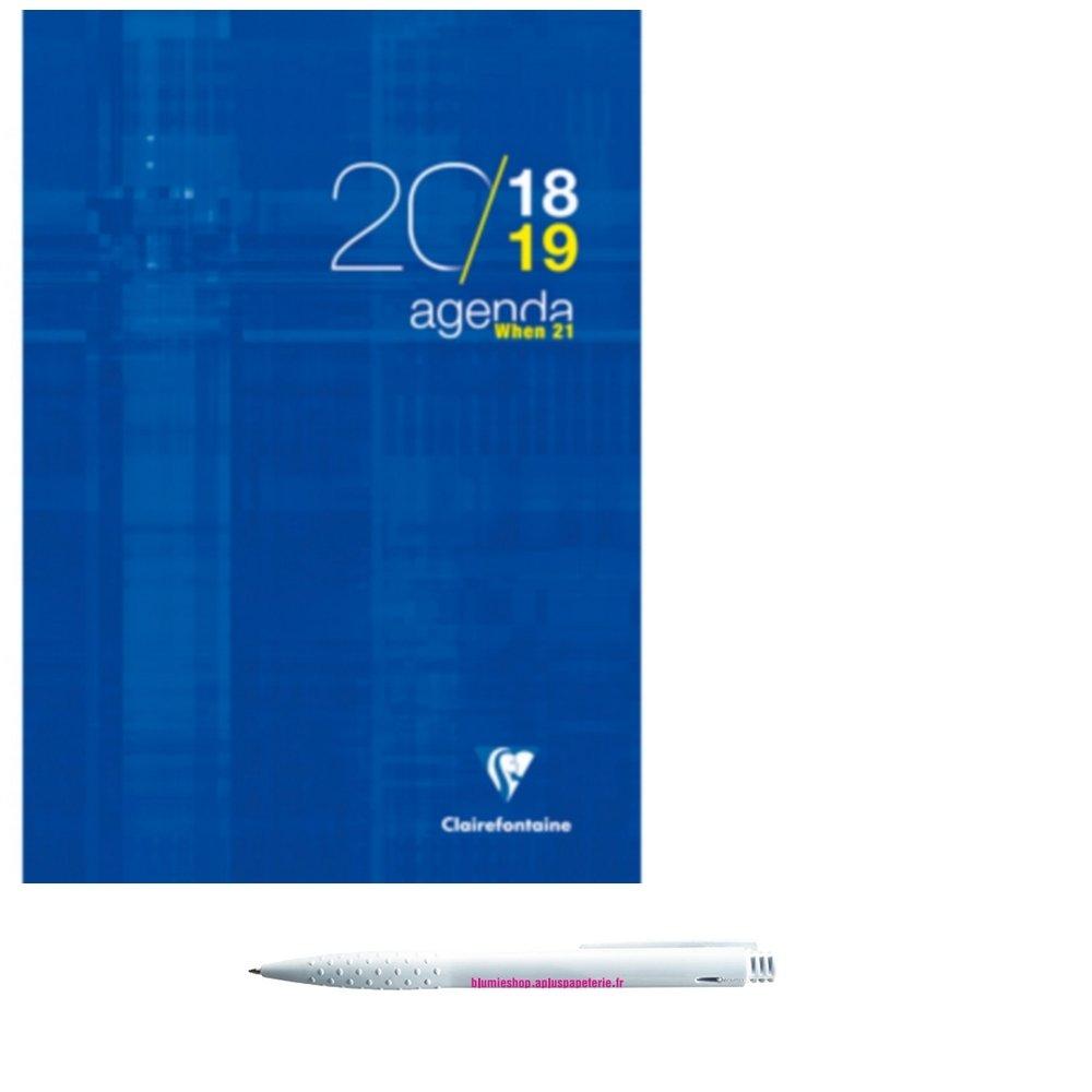 Lot Agenda When 21 juillet 2018 à juillet 2019 bleu et 1 Stylo Blumie Shop