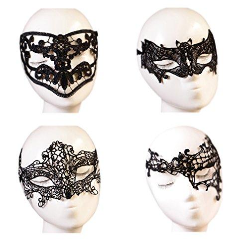 October Elf Women Party Masquerade Costume Bar Lace Soft Eye Mask 4pcs (2) (Elf Costumes Women)