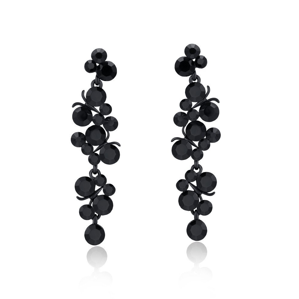 Sinlifu European Women Fashion black Gold Plated Luxury Crystal Grapes Long Drop Earrings