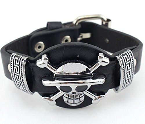 Jewelry Unique Anime Series Wrist Belt Buckle Style Black Pu Leather Cuff Bangle Bracelet for Men (Piece 2)