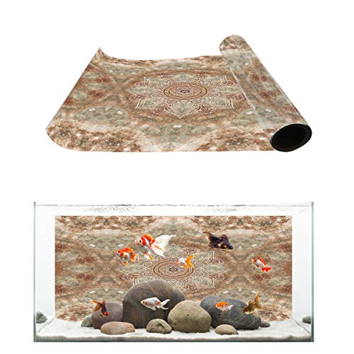 Fantasy Star Aquarium Background Bejeweled Marble Mandala Flower Pattern Fish Tank Wallpaper Easy to Apply and Remove PVC Sticker Pictures Poster Background Decoration 24.4