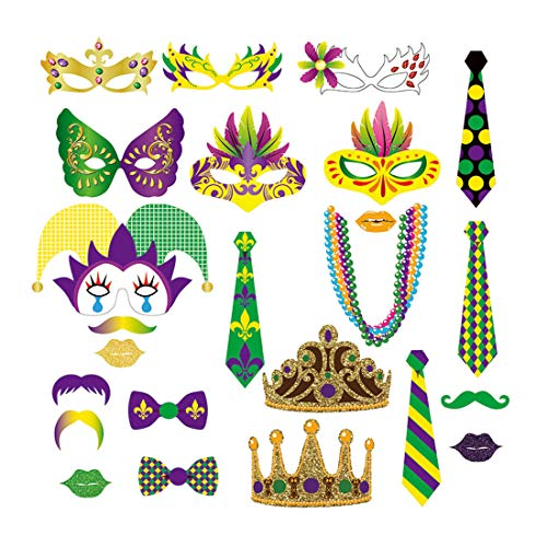 24 pack MARDI GRAS Photo Booth Props Kit Costume Prop Set for Party, Wedding, Birthday -