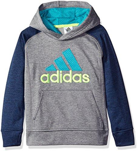 [adidas Little Boys' Athletic Pullover Hoodie, Indigo Heather, 5] (Adidas Pullover Hooded Sweatshirt)